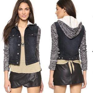 Free People Distressed Denim & Knit hooded jacket